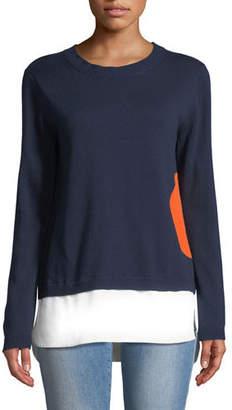 Lisa Todd Dot Sweater with Shirting Hem