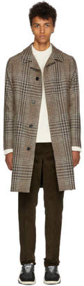 Ami Alexandre Mattiussi Black and Beige Houndstooth Check Belted Coat