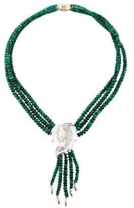 Emerald & Diamond Multistrand Necklace Green Emerald & Diamond Multistrand Necklace