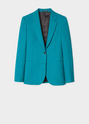 Paul Smith A Suit To Travel In - Women's Teal Two-Button Wool Blazer