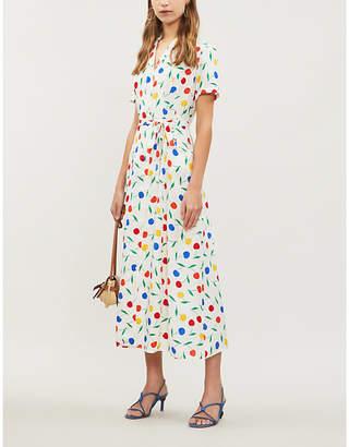 HVN Long Maria cherry-print silk shirt dress