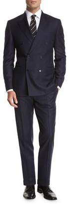 Canali Chevron Wool Double-Breasted Two-Piece Suit, Blue $1,895 thestylecure.com