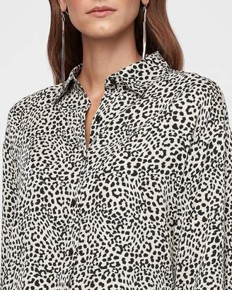 Express Leopard Print Button-Up Shirt