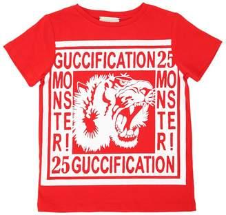 Gucci Tiger Print Cotton Jersey T-Shirt