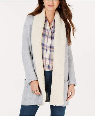 Style&Co. Style & Co Petite Fleece-Contrast Shawl Cardigan