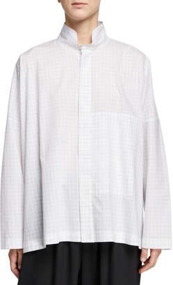 eskandar Double-Collar High-Low Shirt