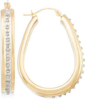 Signature Diamonds Pear Hoop Earrings in 14k Gold over Resin Core Diamond and Crystallized Diamond Dust