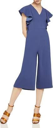 BCBGeneration Ruffle-Sleeve Cropped Jumpsuit