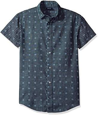 Armani Jeans Men's Slim Fit Chambray Short Sleeve Shirt