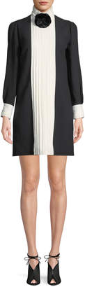 Andrew Gn Long-Sleeve Colorblock & Pleated Crepe Dress w/ Flower at Neck