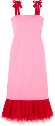 DAY Birger et Mikkelsen STAUD - Langdon Tulle-trimmed Stretch-cotton Poplin Dress - Pink