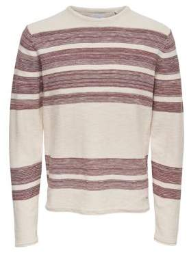 ONLY & SONS Striped Cotton Crewneck Sweater