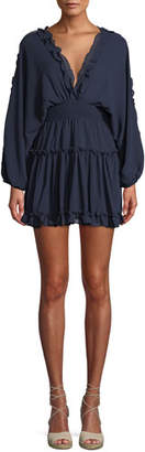 MISA Los Angeles Luisa Ruffle Open-Back Mini Dress