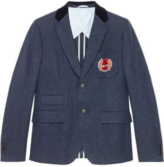 Gucci Cambridge felt jacket with crest