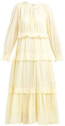 Etoile Isabel Marant Aboni Ruffle Tiered Cotton Dress - Womens - Light Yellow