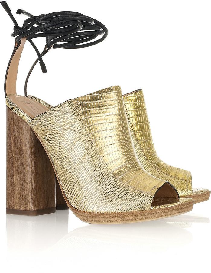 Reed Krakoff Metallic lizard ankle-wrap mules
