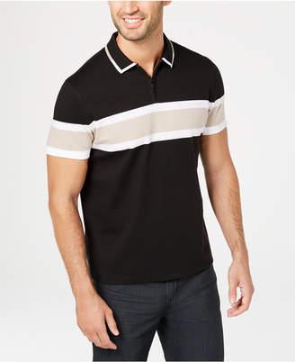 Alfani Men's Regular-Fit Stripe Quarter-Zip Polo