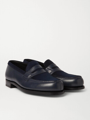 J.M. Weston - Leather and Suede Penny Loafers - Men - Blue