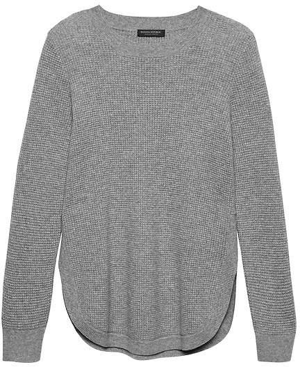 Cashmere Waffle-Knit Tunic Sweater