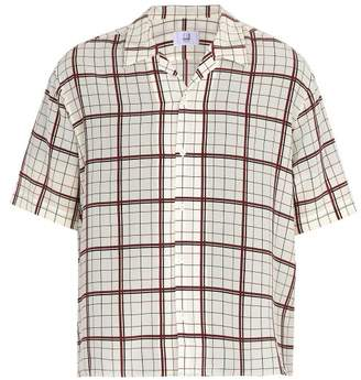 Dunhill - Short Sleeved Check Print Silk Shirt - Mens - White Multi