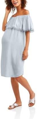 Whoa, Wait Maternity Cha Cha Off-The-Shoulder Ruffle Dress
