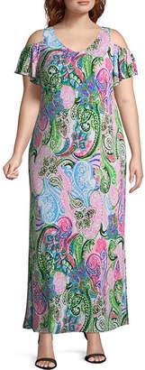 MSK Short Sleeve Paisley Maxi Dress - Plus