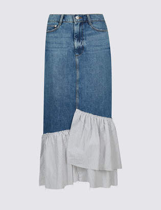 Limited Edition Pure Cotton Striped Frill Denim Midi Skirt