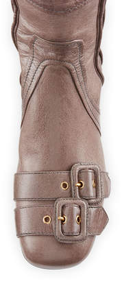Prada Multi-Buckle Leather Over-the-Knee Boot