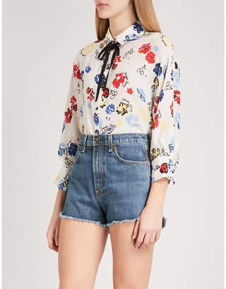 Claudie Pierlot Floral-print silk blouse