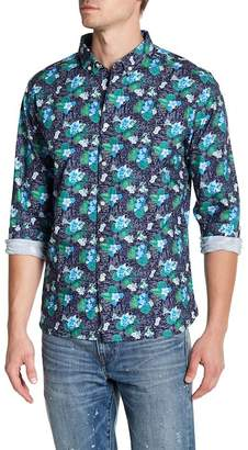 Knowledge Cotton Apparel Front Button Floral Print Regular Fit Woven Shirt