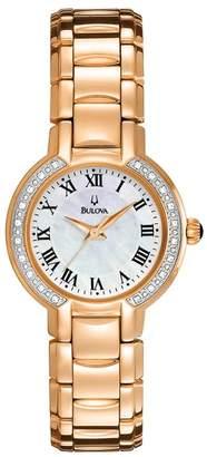 Bulova Women's 98R156 Classic Round Diamond Accented Watch, 27mm