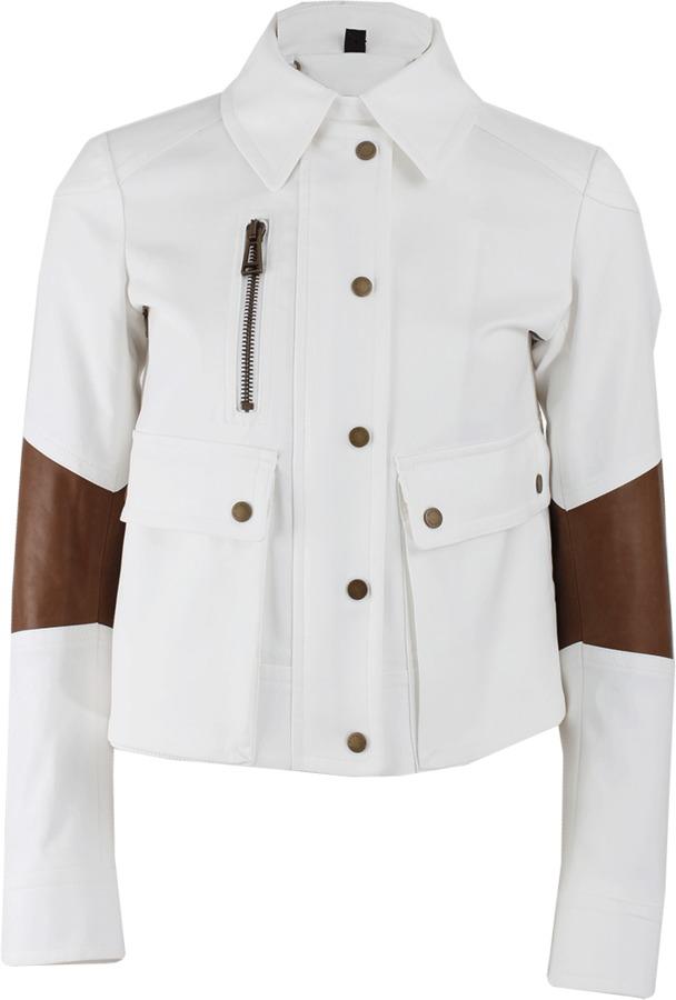 Belstaff Snap Collar Leather Detail Crop Jacket
