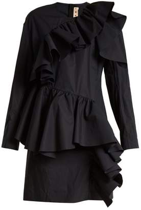 Marni Gathered Ruffle Long Sleeved Cotton Mini Dress - Womens - Black Navy