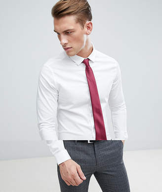 Asos DESIGN Skinny White Shirt And Burgundy Tie Save