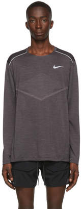Nike Grey Techknit Ultra Running Long Sleeve T-Shirt