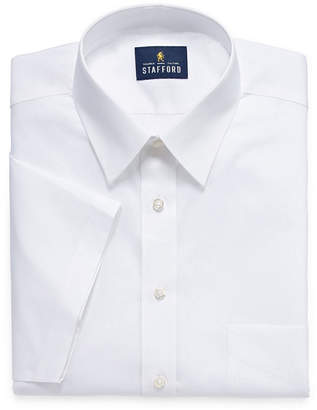 STAFFORD Stafford Travel Easy Care Stretch Broadcloth Short Sleeve Dress Shirt