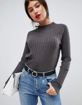 Vila High Neck Knitted Rib Sweater