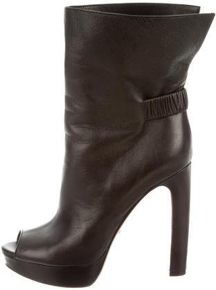 pradaPrada Leather Peep-Toe Ankle Boots