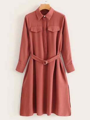 Shein Solid Side Slit Pocket Belted Button Cuff Dress