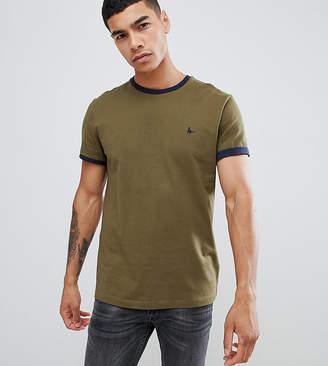 Jack Wills Baildon slim fit ringer t-shirt in khaki Exclusive at ASOS