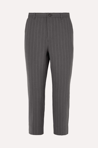Garvey Pinstriped Stretch-cady Straight-leg Pants - Light gray