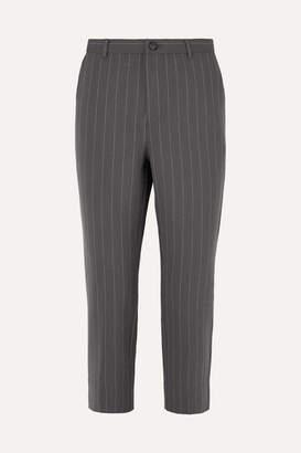 Ganni Garvey Pinstriped Stretch-cady Straight-leg Pants
