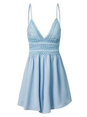 Goodnight Macaroon 'Harleen' Lace Crochet Shoulder Strap Romper (3 Colors)