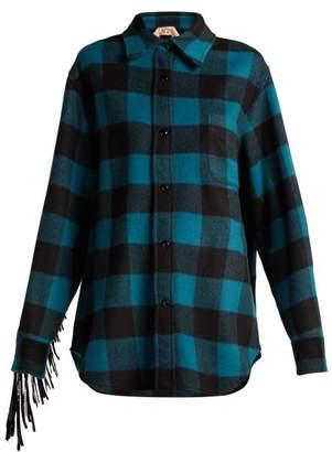 No.21 No. 21 - Fringed Wool Blend Plaid Overshirt - Womens - Black Blue