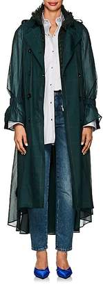 Sacai Women's Layered Checked Voile & Tweed Trench Coat