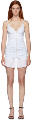 Alexander Wang White and Blue Ruched Dress