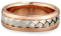 Gents Eli Center Weave Wedding Band Ring in 18K Rose Gold & Platinum, Size 9.5