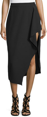 Kendall + Kylie Asymmetric Draped Midi Skirt, Black $158 thestylecure.com
