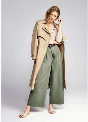River Island Womens Green paperbag waist wide leg trousers