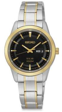 Seiko Ladies' Two-Tone Stainless Steel Solar Dress Watch in Stainless Steel $275 thestylecure.com